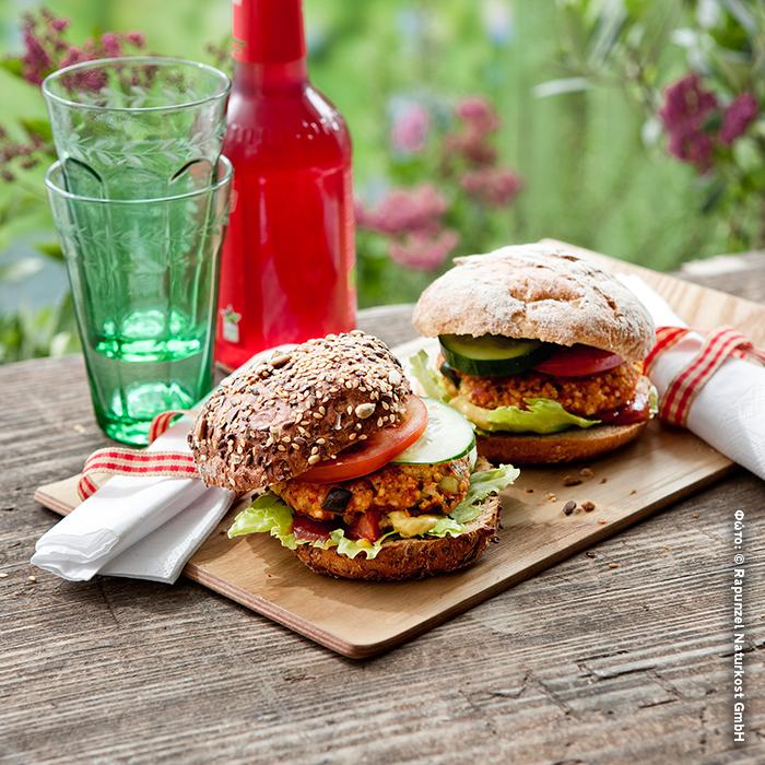 Vegan burger με κεχρί και λαχανικά